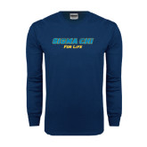 Navy Long Sleeve T Shirt-Sigma Chi For Life