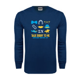Navy Long Sleeve T Shirt-Talk Derby To Me Icons Version