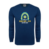 Navy Long Sleeve T Shirt-Derby Days Horse Shoe