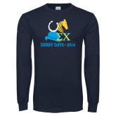 Navy Long Sleeve T Shirt-Derby Days Hat Horse Shoe & Horse Head, Personalized