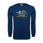 Navy Long Sleeve T Shirt-Derby Days Horses Racing