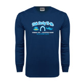 Navy Long Sleeve T Shirt-Talk Derby To Me Hat Horse Shoe Hat