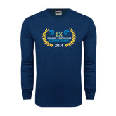Navy Long Sleeve T Shirt-Derby Days Icons w/Leaves
