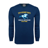 Navy Long Sleeve T Shirt-Derby Days Racing Horse