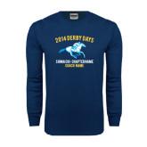 Navy Long Sleeve T Shirt-Derby Days Racing Horse