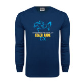 Navy Long Sleeve T Shirt-Derby Days Racing Horse Coach