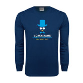Navy Long Sleeve T Shirt-Derby Days Coach with Male Head