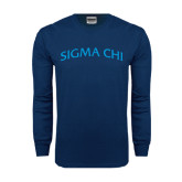 Navy Long Sleeve T Shirt-Arched Sigma Chi
