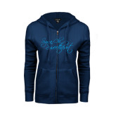 ENZA Ladies Navy Fleece Full Zip Hoodie-Sigma Chi Sweetheart Script