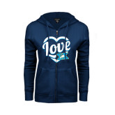 ENZA Ladies Navy Fleece Full Zip Hoodie-Love In Heart
