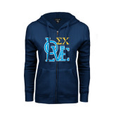 ENZA Ladies Navy Fleece Full Zip Hoodie-Love Stacked