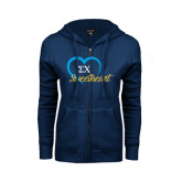 ENZA Ladies Navy Fleece Full Zip Hoodie-Script Sweetheart w/ Heart