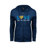 ENZA Ladies Navy Fleece Full Zip Hoodie-Love Sigma Chi Sweetheart Lines