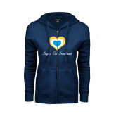 ENZA Ladies Navy Fleece Full Zip Hoodie-Hearts Sigma Chi Sweetheart