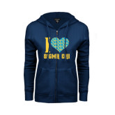 ENZA Ladies Navy Fleece Full Zip Hoodie-I Heart Sigma Chi
