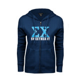 ENZA Ladies Navy Fleece Full Zip Hoodie-Zebra Print Greek Letters Sweetheart