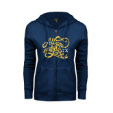 ENZA Ladies Navy Fleece Full Zip Hoodie-All You Need Is Love