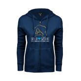 ENZA Ladies Navy Fleece Full Zip Hoodie-Sigma Chi Sweetheart w/ Girl