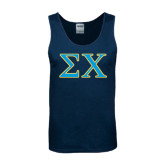 Navy Tank Top-Sigma Chi Greek Letters