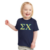 Toddler Navy T Shirt-Sigma Chi Greek Letters