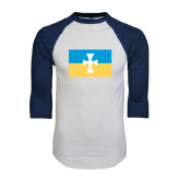 White/Navy Raglan Baseball T-Shirt-Flag