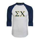 White/Navy Raglan Baseball T-Shirt-Sigma Chi Greek Letters