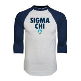 White/Navy Raglan Baseball T-Shirt-Stacked Sigma Chi w/ Shield