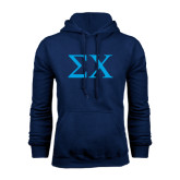 Navy Fleece Hoodie-Sigma Chi Greek Letters