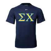 Under Armour Navy Tech Tee-Sigma Chi Greek Letters