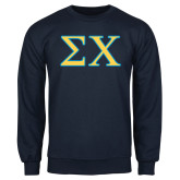 Navy Fleece Crew-Sigma Chi Greek Letters