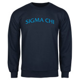 Navy Fleece Crew-Arched Sigma Chi