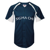 Replica Navy Adult Baseball Jersey-Arched Sigma Chi