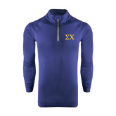 Under Armour Navy Tech 1/4 Zip Performance Shirt-Sigma Chi Greek Letters