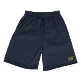 Performance Navy 9 Inch Length Shorts-Sigma Chi Greek Letters