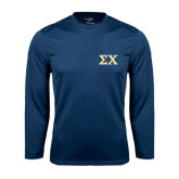 Syntrel Performance Navy Longsleeve Shirt-Sigma Chi Greek Letters