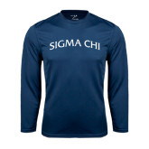 Syntrel Performance Navy Longsleeve Shirt-Arched Sigma Chi