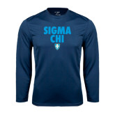 Syntrel Performance Navy Longsleeve Shirt-Stacked Sigma Chi w/ Shield