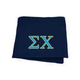 Navy Sweatshirt Blanket-Sigma Chi Greek Letters