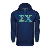 Under Armour Navy Performance Sweats Team Hoodie-Sigma Chi Greek Letters