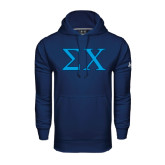 Under Armour Navy Performance Sweats Team Hood-Sigma Chi Greek Letters