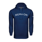Under Armour Navy Performance Sweats Team Hood-Arched Sigma Chi