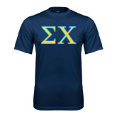 Syntrel Performance Navy Tee-Sigma Chi Greek Letters