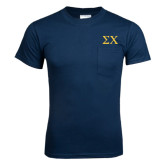 Navy T Shirt w/Pocket-Sigma Chi Greek Letters