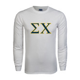 White Long Sleeve T Shirt-Sigma Chi Greek Letters