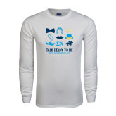 White Long Sleeve T Shirt-Talk Derby To Me Icons Version