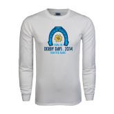 White Long Sleeve T Shirt-Derby Days Horse Shoe