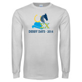 White Long Sleeve T Shirt-Derby Days Hat Horse Shoe & Horse Head, Personalized
