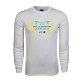 White Long Sleeve T Shirt-Derby Days Icons w/Leaves