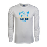 White Long Sleeve T Shirt-Derby Days Racing Horse Coach