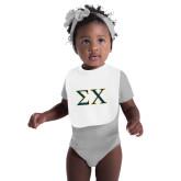White Baby Bib-Sigma Chi Greek Letters